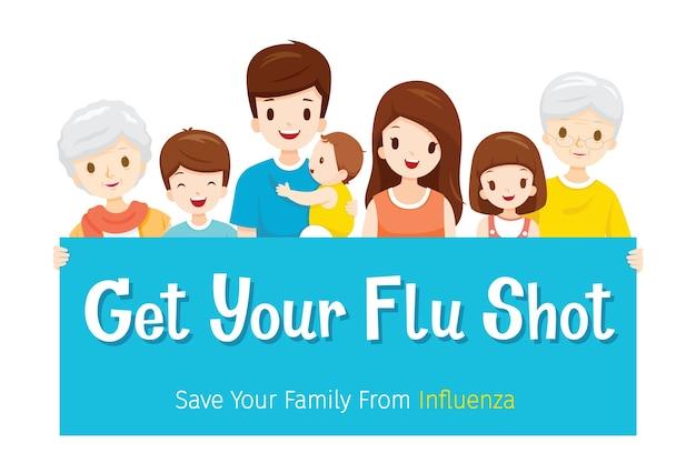 Famiglia con segno di ottenere il tuo colpo antinfluenzale