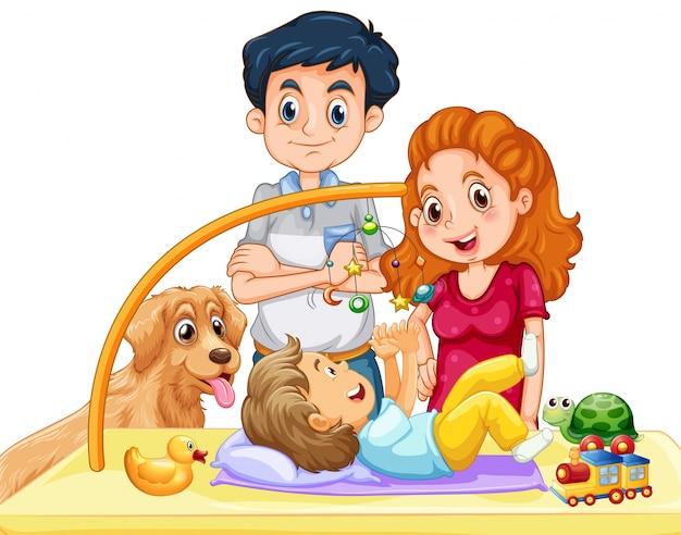 Famiglia con bambino e cane