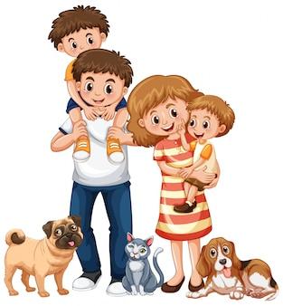 Famiglia con due ragazzi e animali domestici