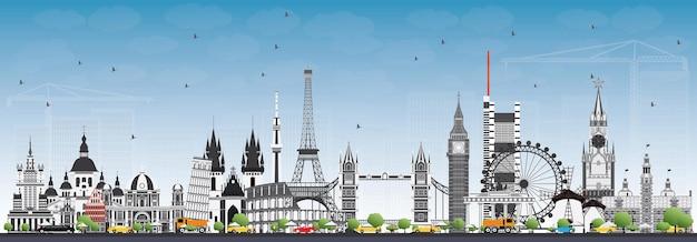 Monumenti famosi in europa. illustrazione di vettore. viaggi d'affari e concetto di turismo. immagine per presentazione, banner, cartellone e sito web