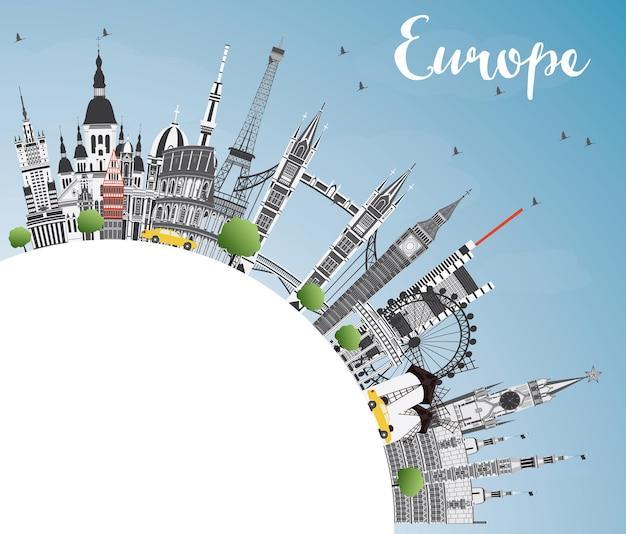 Famosi punti di riferimento in europa con copia spazio. illustrazione di vettore. viaggi d'affari e concetto di turismo. immagine per presentazione, banner, cartellone e sito web