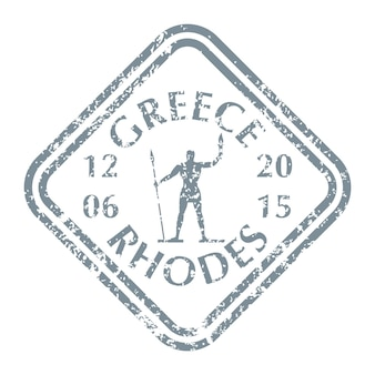Famosa statua di rodi sull'isola della grecia sul timbro postale di lerciume. illustrazione vettoriale