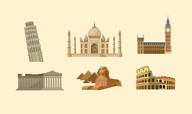 Collezione di monumenti famosi del mondo.