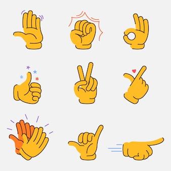 Collezione grafica di gesti di mani fantasia