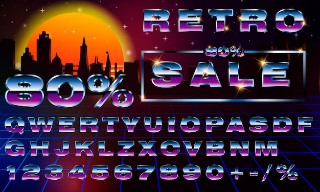 Fancy carattere tipografia neon retrofuturistico. synthwave stile onda di vapore.