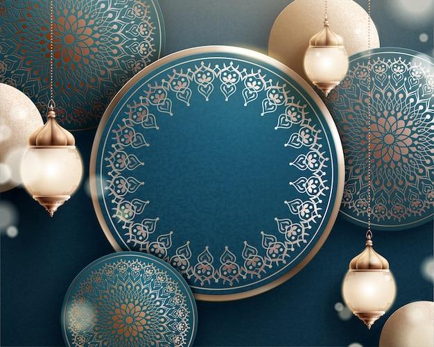 Fanoos e sfondo di fiori arabescati in turchese scuro