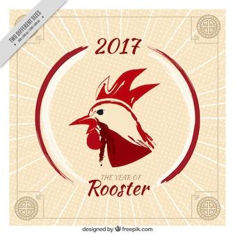 Fantastico cinese anno nuovo sfondo con telaio e gallo rosso