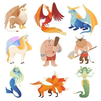 Creature fantastiche. animali ibridi del drago di phoenix che pilotano le immagini del fumetto del centauro del minotauro del leone