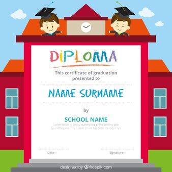 Fantastico diploma per i bambini con due studenti sorridenti