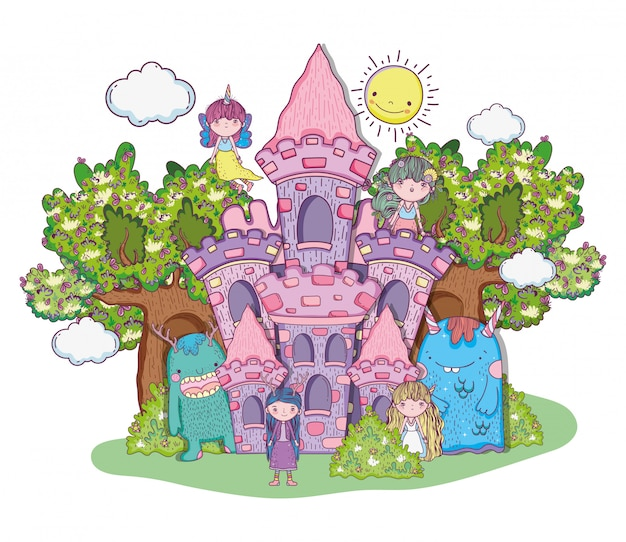 Ragazze fantastiche creature nel castello con alberi e sole