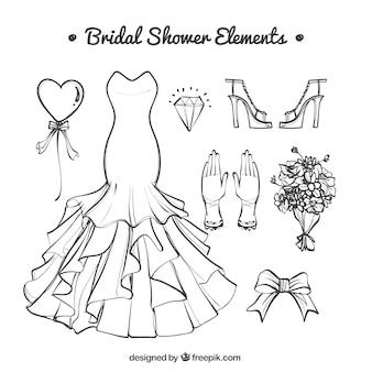 Fantastici accessori da sposa disegnati a mano Vettore Premium