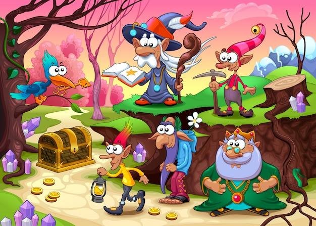 Un gruppo di nani sta cercando il tesoro vector fantasy illustrazione