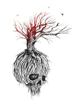 Fantastiche radici e rami dell'albero del teschio illustrazione vettoriale di schizzo disegnato a mano