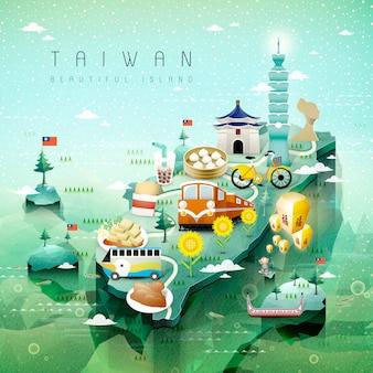 Fantastiche attrazioni e piatti di taiwan mappa di viaggio stile isometrico