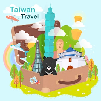 Fantastiche attrazioni di taiwan - punti di riferimento della valigia
