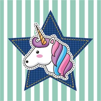 Fantastico modo di decorare unicorno e stella denim patch