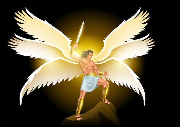 Illustrazione di arte di fantasia di michele arcangelo con sei ali che tengono una spada