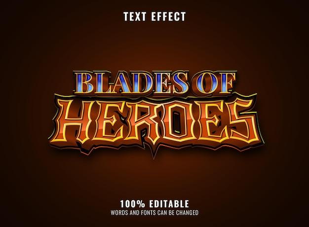Lame fantasy di eroi blu diamante gioco logo titolo effetto testo modificabile