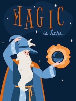 Carta di fantasia con il mago che tiene l'illustrazione piana di vettore del cristallo magico