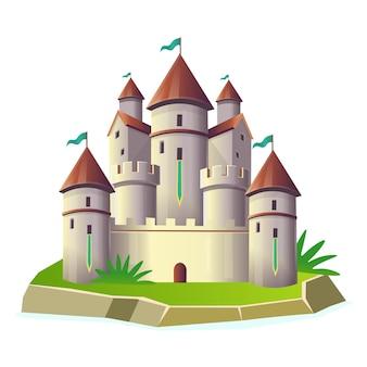 Castello di fantasia con torri sull'isola. cartoo vettoriale. castello delle fate per bambini.