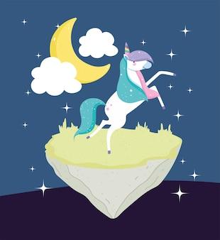 Unicorno carino fantasy Vettore Premium