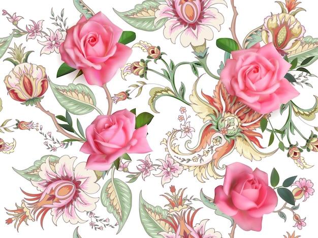 Fantasia floreale senza cuciture con rose