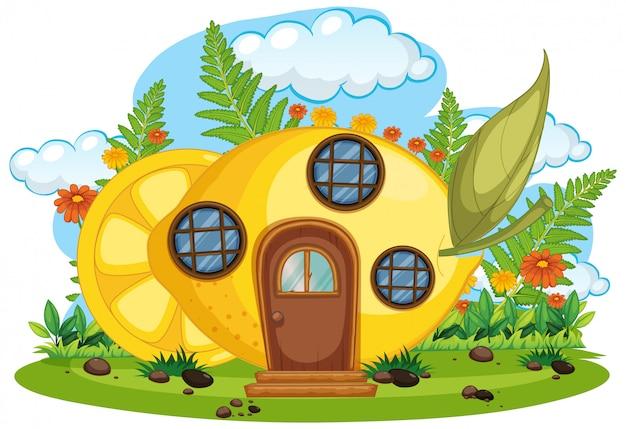 Casa da frutto di fantasia isolata