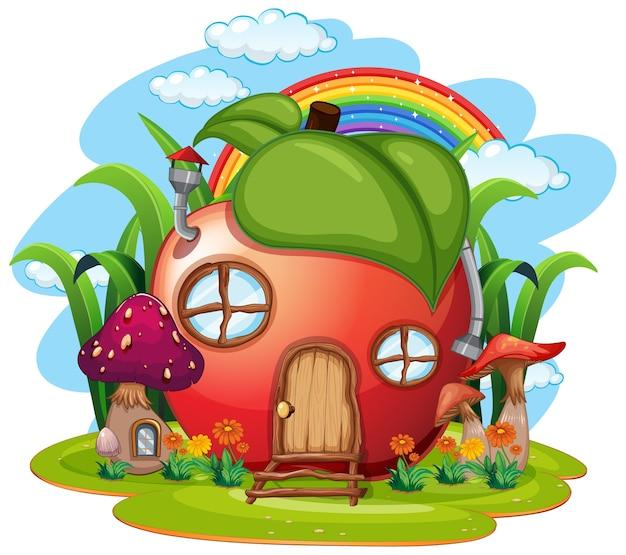 Casa della frutta di fantasia isolata