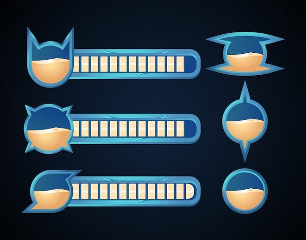 Barra della salute del gioco fantasy con vari bordi per gli elementi del gioco rpg