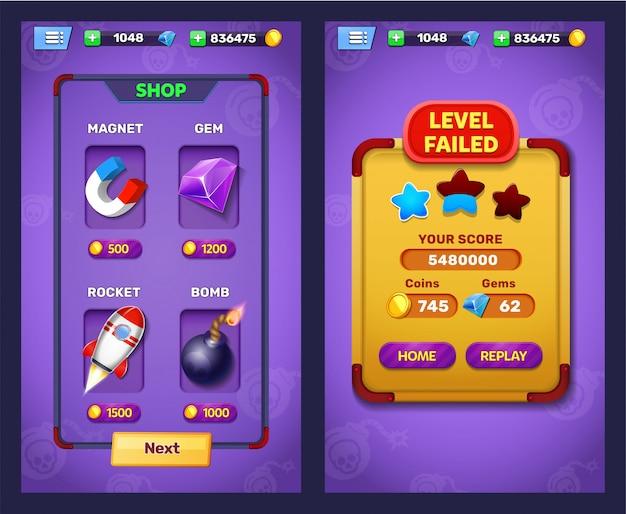 Livello di gioco fantasy fallito e schermata di selezione del livello