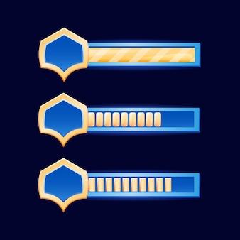 Barra dell'interfaccia utente del gioco fantasy con bordo di diamanti dorati per elementi di risorse gui Vettore Premium