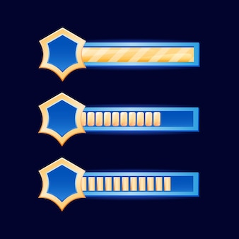 Barra dell'interfaccia utente del gioco fantasy con bordo di diamanti dorati per elementi di risorse gui