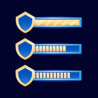 Barra dell'interfaccia utente del gioco fantasy con bordo scudo dorato per elementi di risorse gui