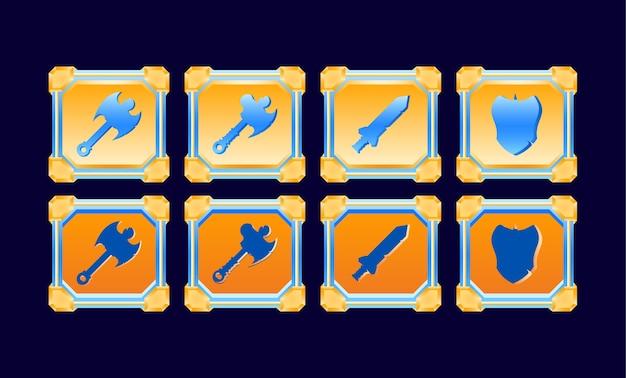L'interfaccia utente del gioco fantasy ha impostato modelli di pulsanti per armi da combattimento con cornice diamantata lucida dorata per elementi di asset della gui