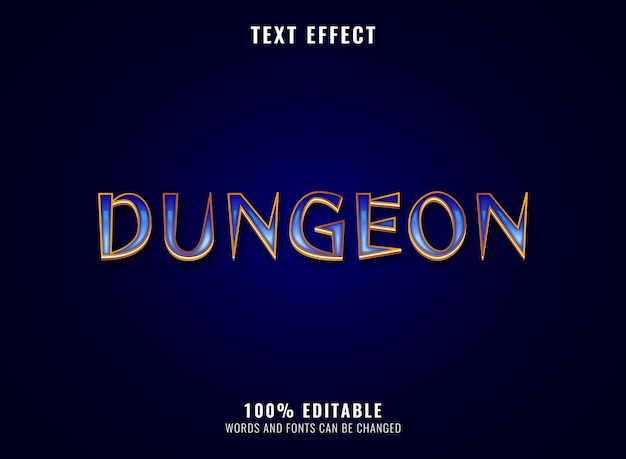 Effetto di testo del logo del gioco rpg di dungeon di diamanti d'oro fantasy