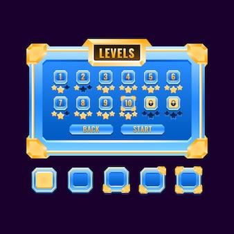 Interfaccia di selezione del livello dell'interfaccia utente del gioco di diamanti dorati fantasy per elementi di asset gui