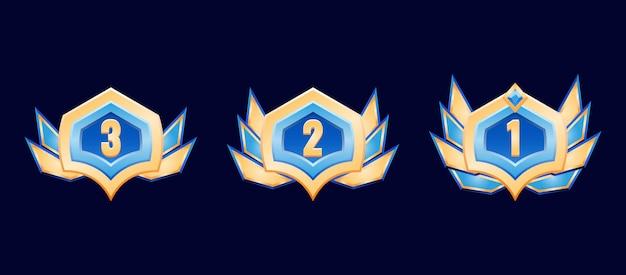 Medaglia di distintivo di rango di diamante dorato fantasy con ali per elementi di asset gui