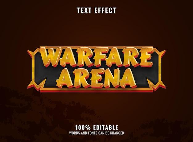 Arena di guerra d'oro fantasy con effetto testo del titolo del logo del gioco rpg frame