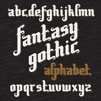 Carattere gotico fantasy. alfabeto vintage retrò. lettere di tipo personalizzato su sfondo scuro.