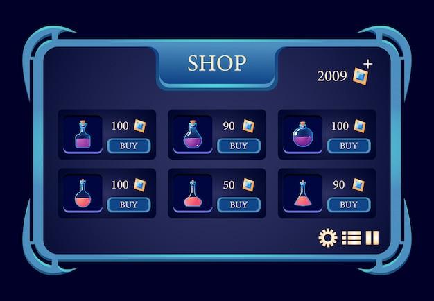 Interfaccia pop-up del negozio di bottiglie di pozioni fantasy gui
