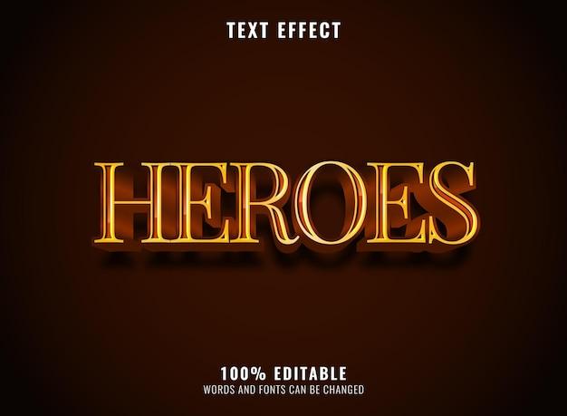 Effetto di testo modificabile di lusso dorato di eroi fantasy