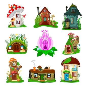 Fantasy house cartoon fata treehouse e magic housing village illustrazione set di bambini da favola playhouse per gnome o elfo isolato su sfondo bianco