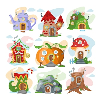 Fantasy house cartoon fata treehouse e alloggiamento magico villaggio illustrazione set di bambini fiaba zucca o pietra playhouse per gnome su sfondo bianco