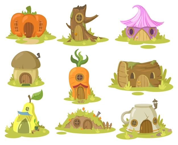 Set di illustrazioni di casa di fantasia