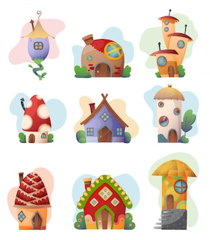 La casa di fantasia ha messo la casa sull'albero leggiadramente del fumetto di vettore e l'insieme dell'illustrazione del villaggio dell'alloggio del playhouse di favola dei bambini