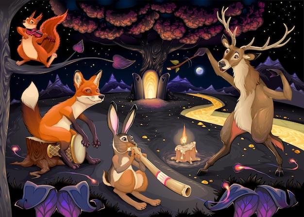 Illustrazione di fantasia con animali che suonano musica nel bosco