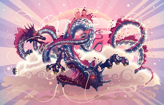 Draghi giapponesi di fantasia nel cielo magico con nuvole sopra l'illustrazione del sole rosso sul tema asiatico