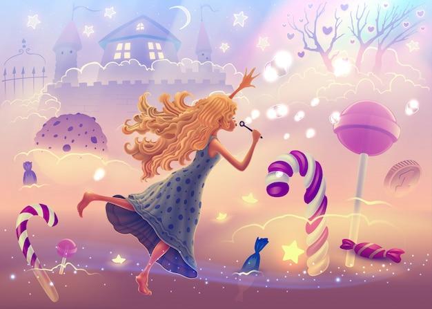 Illustrazione del paesaggio di fantasia con la ragazza che sogna che vola nel mondo dolce con i bastoncini di zucchero di natale