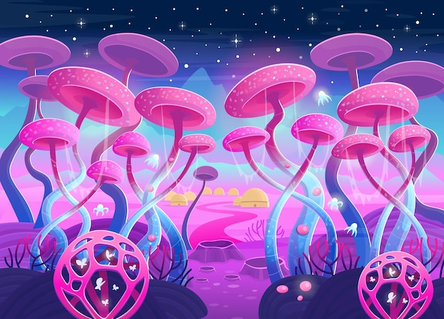 Paesaggio di fantasia con piante e funghi magici. illustrazione dello spazio. sfondo per giochi e applicazioni mobili.
