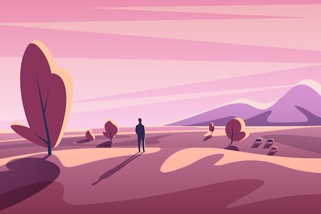 Fantasy paesaggio tramonto minimalista con montagne, alberi, animali